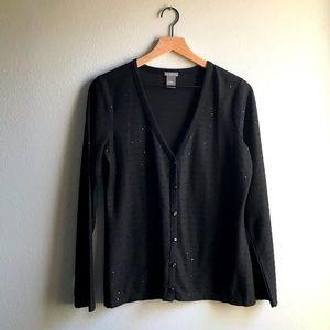 ANN TAYLOR Sequin Button Front Cardigan Black L